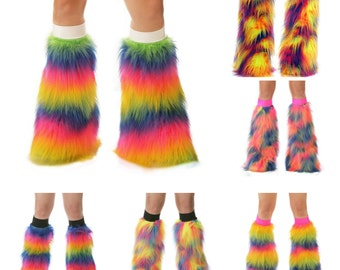 TrYptiX Rainbow Fluffies Furry Leg Warmers Pride Accessories Pride Outfits Rave Fluffies Burning Man EDC Shambhala Electric Forest