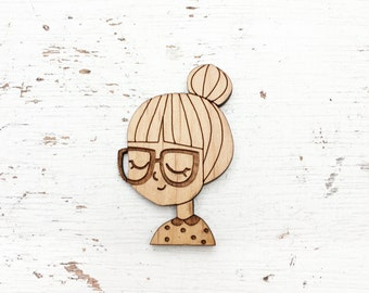 CHARACTER : Girl With Bun Brooch Pin