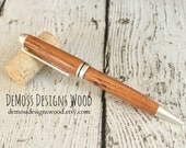 Honey Locust Wood Pen, Wood Turned, Euro Style, Black Ink, Pearl Finish
