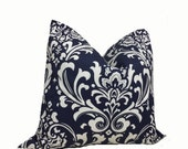 SALE 50% OFF - PILLOW Sham Cover - Pillow Cover King Queen Euro Reg. 12 16 18 20 24 26 Damask Navy and White Ozborn Twill DecorativeThrow Pi