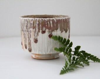 Vintage Modernist Drip Glaze Pottery Pot Small Pedestal Planter Mid Century Studio Pottery Artist