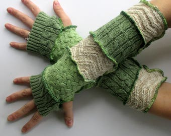 Fingerless Gloves - Graduation Gift for Sister - Arm Socks - Festival Gloves - Recycled Sweaters - Celery & Ecru - Reduce Reuse Recycle