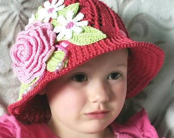 Crochet Cotton Cloche Sun Panama Hat Red Baby Bonnet Hat with Rose, Daisies, Ribbon, And Pearls
