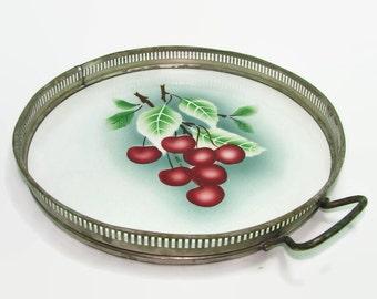 German Porcelain Tray with Pierced Metal Rim, Cherries on Porcelain Serving Tray, Vintage, Porcelain Cherry Tile