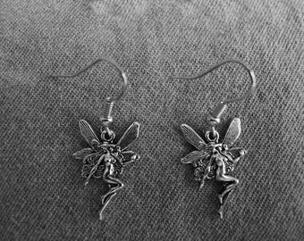 Beautiful pair of Silver Earrings with Fairy and Hypoallergenic Surgical Steel Ear Wires