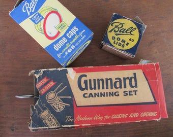 Canning Supplies Vintage Guunard Canning Set Ball Lids and Domes Gunnard Jar Lifter