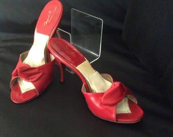 1950s Red leather springolator stiletto heels sz 37