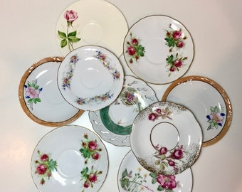 Mismatched Plates / Vintage Pink & Green China Plates for Plate Wall Hanging, or Serving at Showers, Tea Parties, Luncheons, etc.