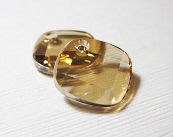 Swarovski Crystal 18mm Diamond Drop Metro Pendant in Golden Shadow - 2 PIECES
