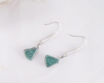 Earrings green natural stone triangle bead on sterling silver handmade earring findings
