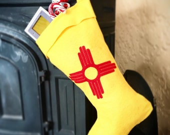 Zia New Mexico flag Christmas stocking handmade felt by Frozen Kiss recycled