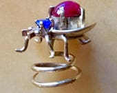 Reserved for C. please don't purchase. ANTIQUE BUG JEWELRY Collected in Paris in the 1920's, A Flying Beetle, Insect with Gold and Blue and