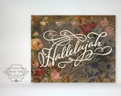 Hallelujah script art print. vintage florals roses. script typography text. Home decor. Wall Art. Christian Art Gift. Wall Decor.