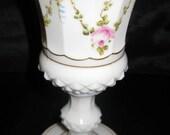 Milk glass white shabby chic vase, pedestal base vases, urn glass flowers