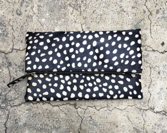 Black and White Leopard Print Calf Hair Fold Over Zipper Pouch Leather Clutch