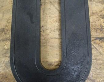 "Vintage Plastic 10"" Slotted Drive-In Theater Sign Black Letter Number ""U"""