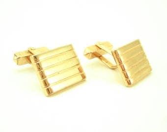 1940s Swank Cufflinks Mens Vintage Art Deco Gold Tone Cufflinks by SWANK