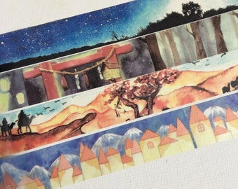 1 Roll of Limited Edition Washi Tape: Starry Starry Night,Japanese Shrine and Light ,Camels in Desert, or European Town with Snow Mountain