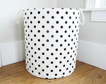 "Extra Large Fabric Storage Hamper, Laundry Basket, White and Black Polka Dot Fabric Organizer, Toy or Nursery Basket, Storage Bin - 20"" Tall"