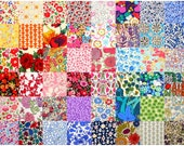 "Liberty Fabric 48 Mini Charm Squares 2.5"" Bundle Patchwork Quilting Floral Bright Rainbow Colours Liberty of London Tana Lawn"
