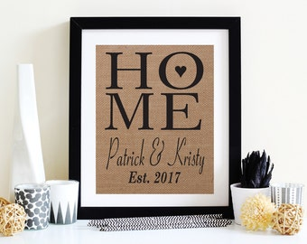 House Warming Gift, Home Is Where The Heart Is Burlap Art Print, New Home Gift, Rustic Home Decor, Housewarming Gift
