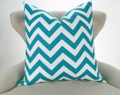Throw Pillow, Turquoise Chevron Pattern, Euro Sham, Accent Pillow, Cushion Cover, Teal Aqua & White -MANY SIZES- Zigzag Premier Prints