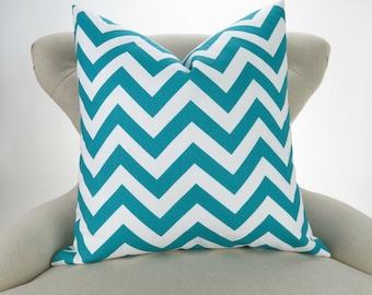 Throw Pillow, Turquoise Chevron Pattern, Euro Sham, Accent Pillow, Cushion Cover, Teal Aqua & White -MANY SIZES- Zigzag Premier Prints