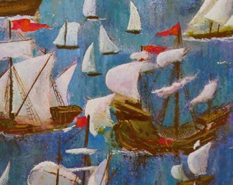 Vintage Hallmark Ambassador All-Occasion NAUTICAL Gift Wrap - Wrapping Paper - SAILBOATS - 1960s