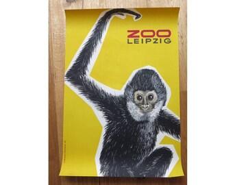 Original Zoo Advertising Poster- Leipzig (GDR/East Germany) 1965 - Monkey design