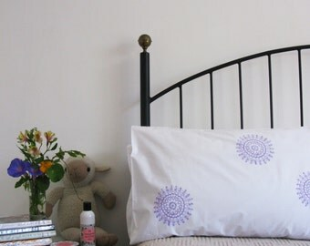 Pillow cases, Set of Two, hand printed, doily design