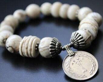 Neutral gemstone coin charm bracelet vintge coin charm stretch boho bracelet Naga shell and Bali sterling bracelet primitive tribal bracelet