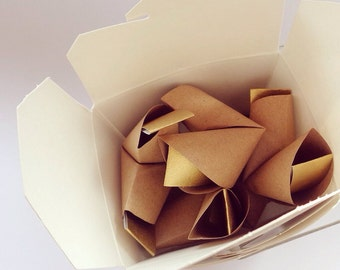 Mini takeout box of paper origami fortune cookies with love messages - wedding favour - simple decor - cute gift