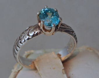 Blue Zircon Ring, 1.31 Carat, Vintage Reproduction, Sterling Silver Ring, Size 6 1/4
