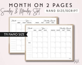 NANO Size TN Month on 2 Pages - Sunday Start and Monday Start - Printable Traveler's Notebook Insert - Script Theme