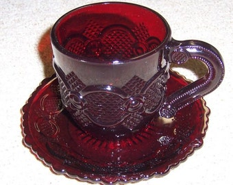 Avon Ruby Red 1876 CAPE COD Coffee or Tea Cup and Saucer