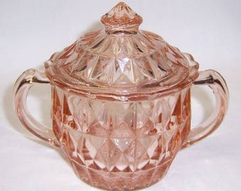 Jeannette Depression Glass Pink WINDSOR DIAMOND SUGAR Bowl with Lid