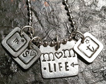 Mom Life Necklace; Initial charm necklace