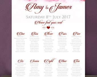 Red Hearts Wedding Table Plan A2