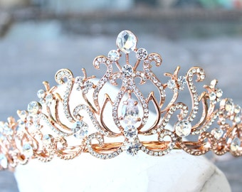 Bridal Tiara Crystal Rose Gold Tiara - CAROLINE, Swarovski Bridal Tiara Crystal Wedding Crown Rhinestone Tiara Wedding Tiara, Diamante Crown