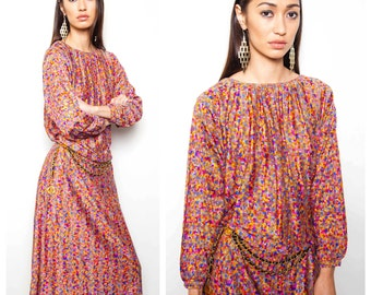 S.A.L.E was 330 now 250 fab vintage 70s/80s MISSONI metallic lurex silk multicolour batwing drape dress