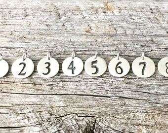 Fine silver lucky number, sports number, number charm, number pendant