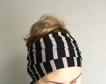 Black Striped Head Scarf, Long Jersey Head Wrap, Self Tie Headscarf, Hair Loss Head Cover, Headwrap, Headscarf, Thin Scarflette, Neck Bow