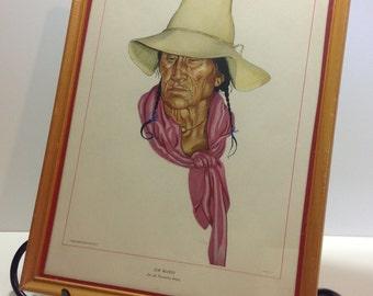 "Antique Winold Reiss Lithograph Print ""Jim Blood"" Native American"