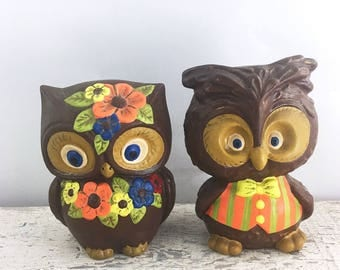 Vintage Ceramic Owl Pair