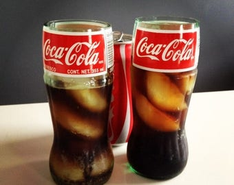 SALE TODAY ONLY Set of Two Recycled Coca-Cola Coke Glass Bottle Drinking Glasses