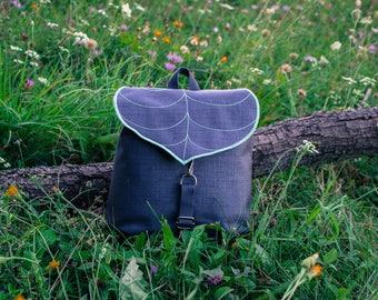 Dark Grey Leaf Mini Backpack, Women's Rucksack, Hipster Backpack, Waterproof Cycling Bag,Lightweight, Durable Woodland Design, Festival bag