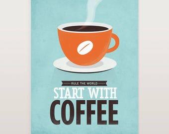 Coffee Quotes, Start With Coffee, Scandinavian Print, Coffee Art, Coffee Print, Kitchen Wall Art, Mid Century Print, Scandinavian Art