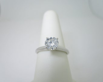White Gold 14K NATURAL DIAMOND .81 ct MARKED Engagement Ring Size 6 1/2 R1328