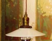 ON SALE Vintage, Milk Glass, Opaline, Coolie Shape, Pendant Light Shade, Vintage French Lighting, Antique, White, Cottage, Shade Only