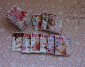 Dollhouse miniature set of 9 different baby magazines -IT'S A GIRL!-